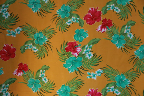 Big Hibiscus Floral Yellow Gold Fabric