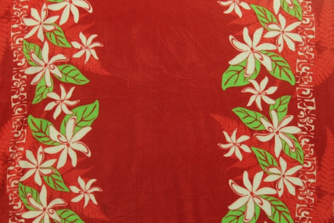 Tiare Double Border Hawaiian Red Hawaiian Fleece Fabric