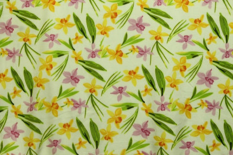 Hawaiian Orchid Garden White Fleece Fabric
