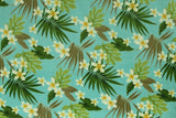 Plumeria Hawaiian Garden Turquoise Fleece Fabric