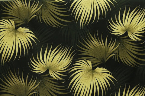 Fern Leaves Hawaiian Black Barkcloth Upholstery Fabric