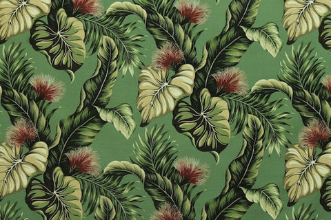 Lehua Upholstery Barkcloth Green Fabric
