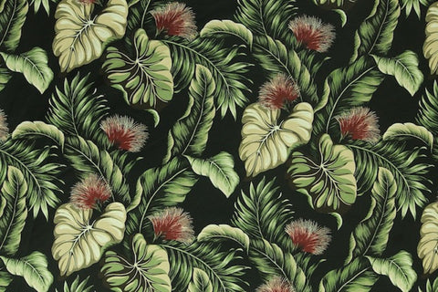 Lehua Upholstery Barkcloth Black Fabric