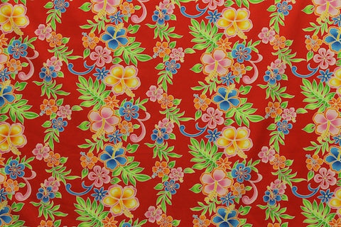 Hawaiian Leis Border Red Fabric