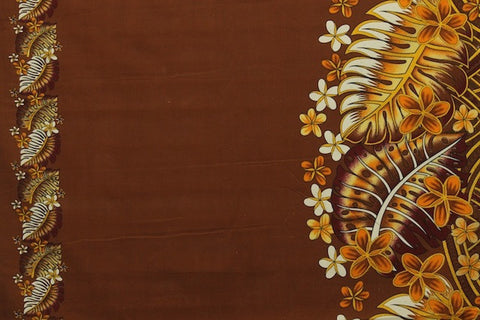 Plumeria Monstera Hawaiian Brown Fabric