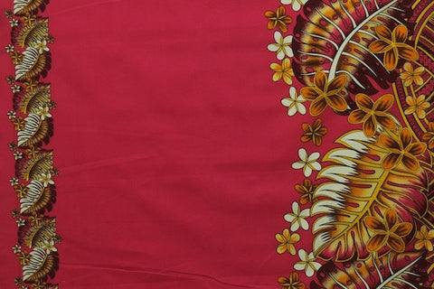 Plumeria Monstera Hawaiian Fuchsia Fabric