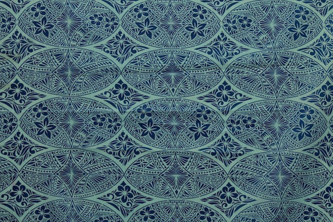 Tapa Hawaiian Plumeria Slate Blue Fabric