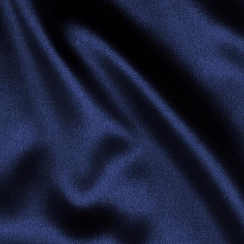 Navy Blue Solid Satin Fabric