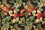 Plumeria Hibiscus Floral Design Barkcloth Upholstery Fabric