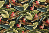 HAWAIIAN TROPICAL BIRD OF PARADISE UPHOLSTERY BARKCLOTH BURGUNDY FABRIC