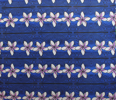 Stripped Plumeria Blue Fabric
