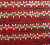 Stripped Plumeria Red Fabric
