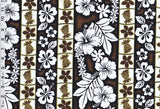 Pineapple Hibiscus Garden Brown Fabric