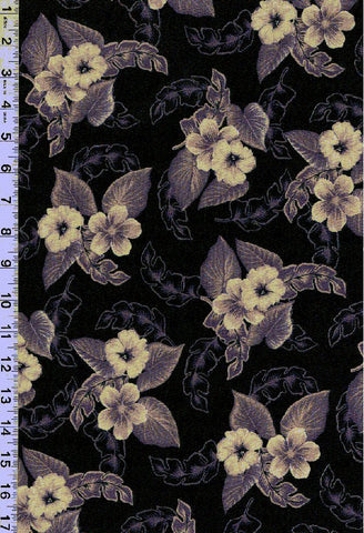Plumeria Mirage Black Fabric