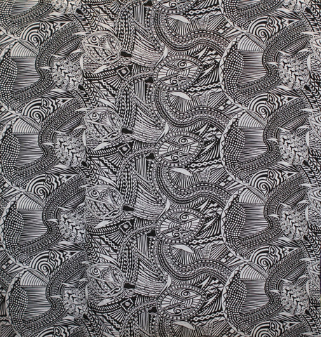 Samoan Turtle Tattoo Black Fabric