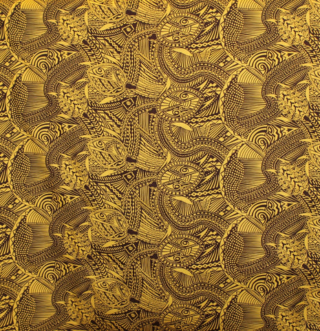Samoan Turtle Tattoo Yellow Fabric