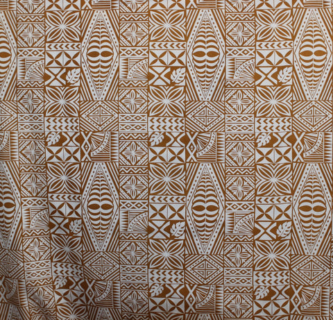 South Pacific Islander Tattoo Gold Fabric