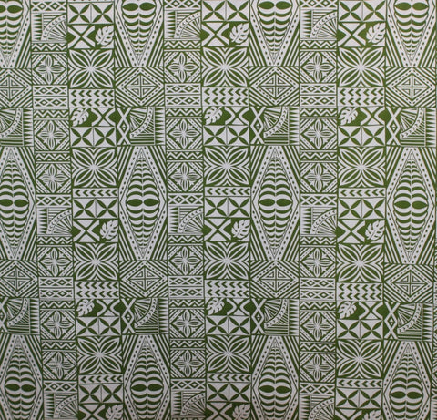 South Pacific Islander Tattoo Green Fabric