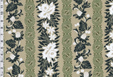 Tribal Flower Garden Green Fabric