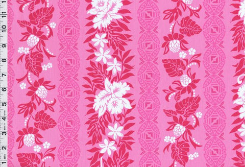 Tribal Flower Garden Pink Fabric