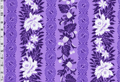 Tribal Flower Garden Purple Fabric