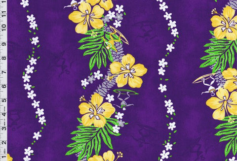 Yellow Hawaiian Hibiscus Lei Purple Fabric