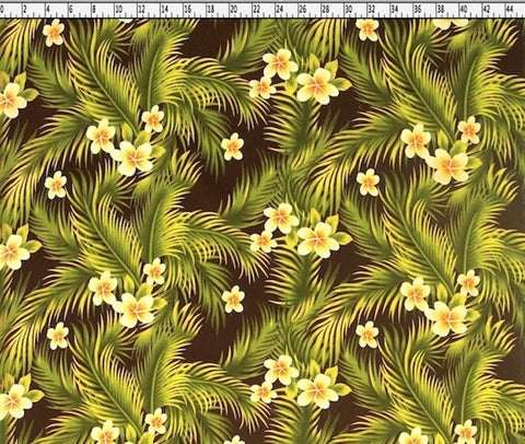 Plumeria Coconut Garden Brown Fabric