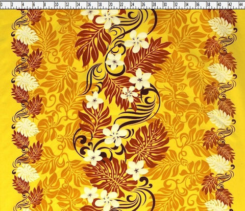 Maori Plumeria Hawaiian Yellow Fabric