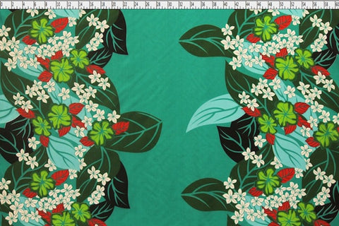 Plumeria Hawaiian Border Teal Fabric