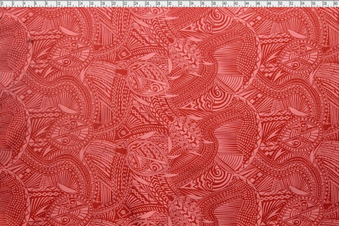 Samoan Tattoo Turtle Red Fabric