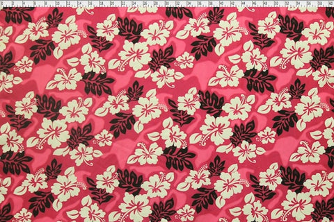 Hawaiian Hibiscus Tie Dyed Pink Fabric