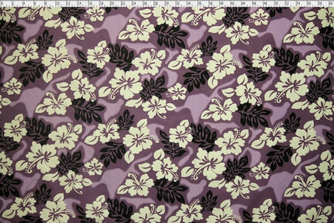 Hawaiian Hibiscus Tie Dyed Plum Fabric