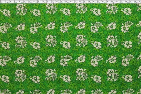 Hawaiian Hibiscus Green Fabric