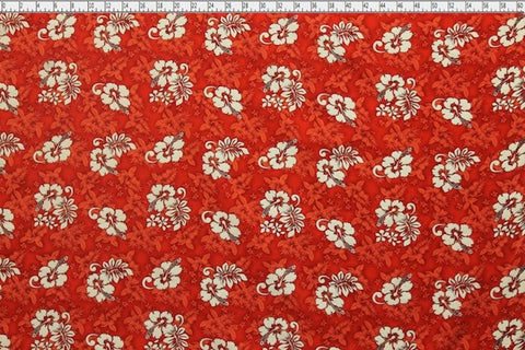 Hawaiian Hibiscus Red Fabric