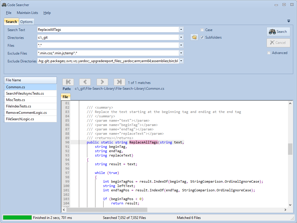 Source Code Search Tool Screen Shot