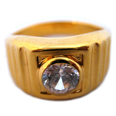 18K HGE GOLD Plated MENS RINGS Men Fashion RING Simulated-Diamond Crystal Glass Stone size 11