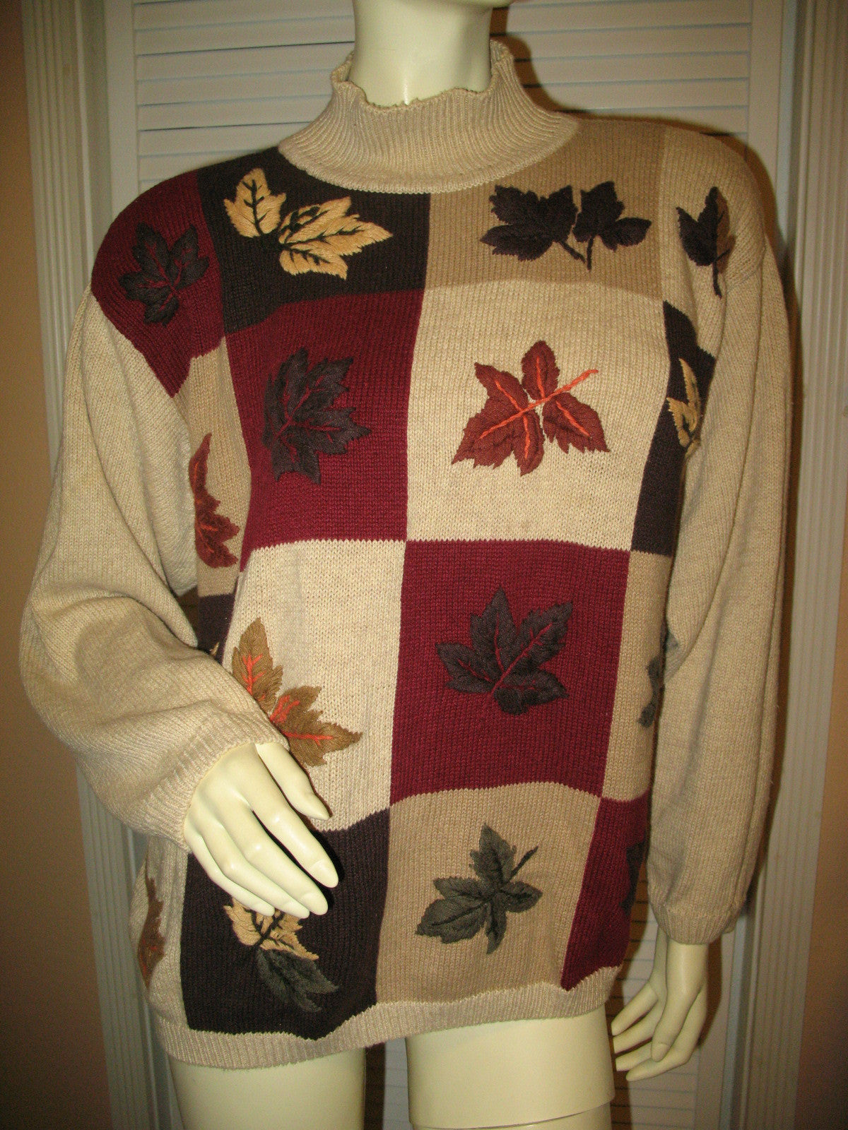 27a33525f0e DRESSBARN Womens Sweaters Pullover Crew Neck Turtleneck Knit Sweater Top  Long Sleeve Size 18 20 Beige Multicolor Fall Embroidery Floral