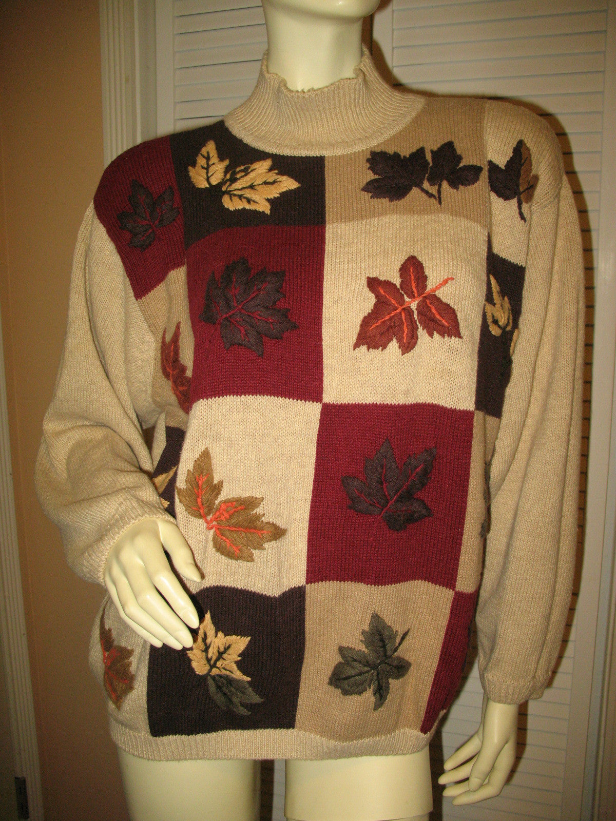 ede7b8de5c DRESSBARN Womens Sweaters Pullover Crew Neck Turtleneck Knit Sweater Top  Long Sleeve Size 18 20 Beige Multicolor Fall Embroidery Floral