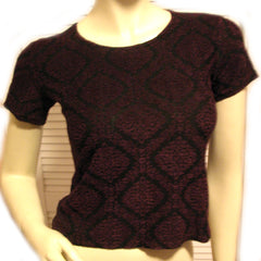 MADE In USA Womens Tops BLACK Purple RED Diamond Diamonds Geometric Pattern Short Sleeve NYLON Blend TOP Blouse Casual Clothes size Small Women Cheap Affordable Clothing Casuals Wear