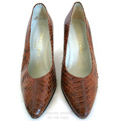 ANTICOLI ROMA MADE In ITALY SNAKE SKIN SNAKESKIN Animal Pattern Leather Womens SHOES size 5 35 Ladies Fashion Footwear