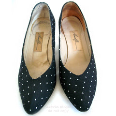 AMALFI MADE ITALY Genuine LEATHER Womens SHOES High Heels Classics Black And White Polka Dots Pattern size 6 C