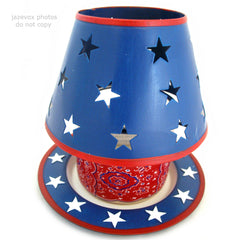 NEW NIB AVON RED WHITE BLUE STARS Apple Scented CANDLE LIGHT JAR LAMP SHADE Lighting