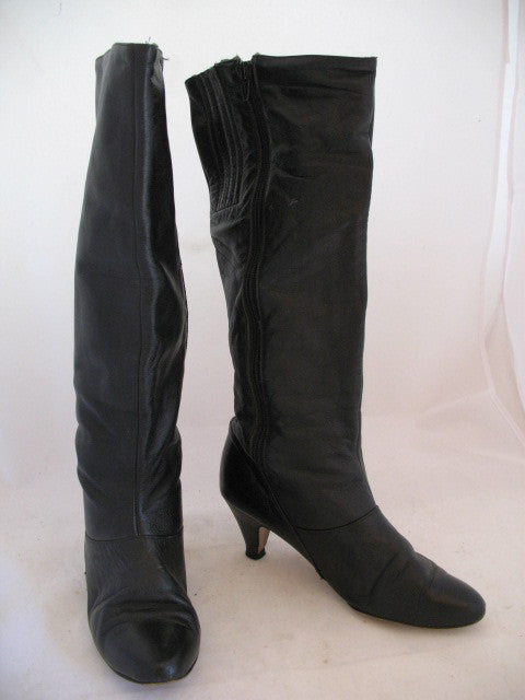 fe2a22a6990 USA MADE VINTAGE Womens BLACK LEATHER Knee High Classic BOOTS Heels SHOES  size 6