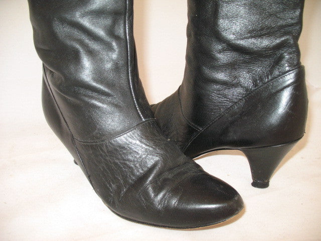 7d951e4c4741 USA MADE VINTAGE Womens BLACK LEATHER Knee High Classic BOOTS Heels SHOES  size 6
