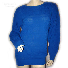 AMERICAN PRIDE Vintage Made In USA Womens Sweaters Blue Pullover Crew Neck Cable Knit Sweater Top Long Sleeve Large L