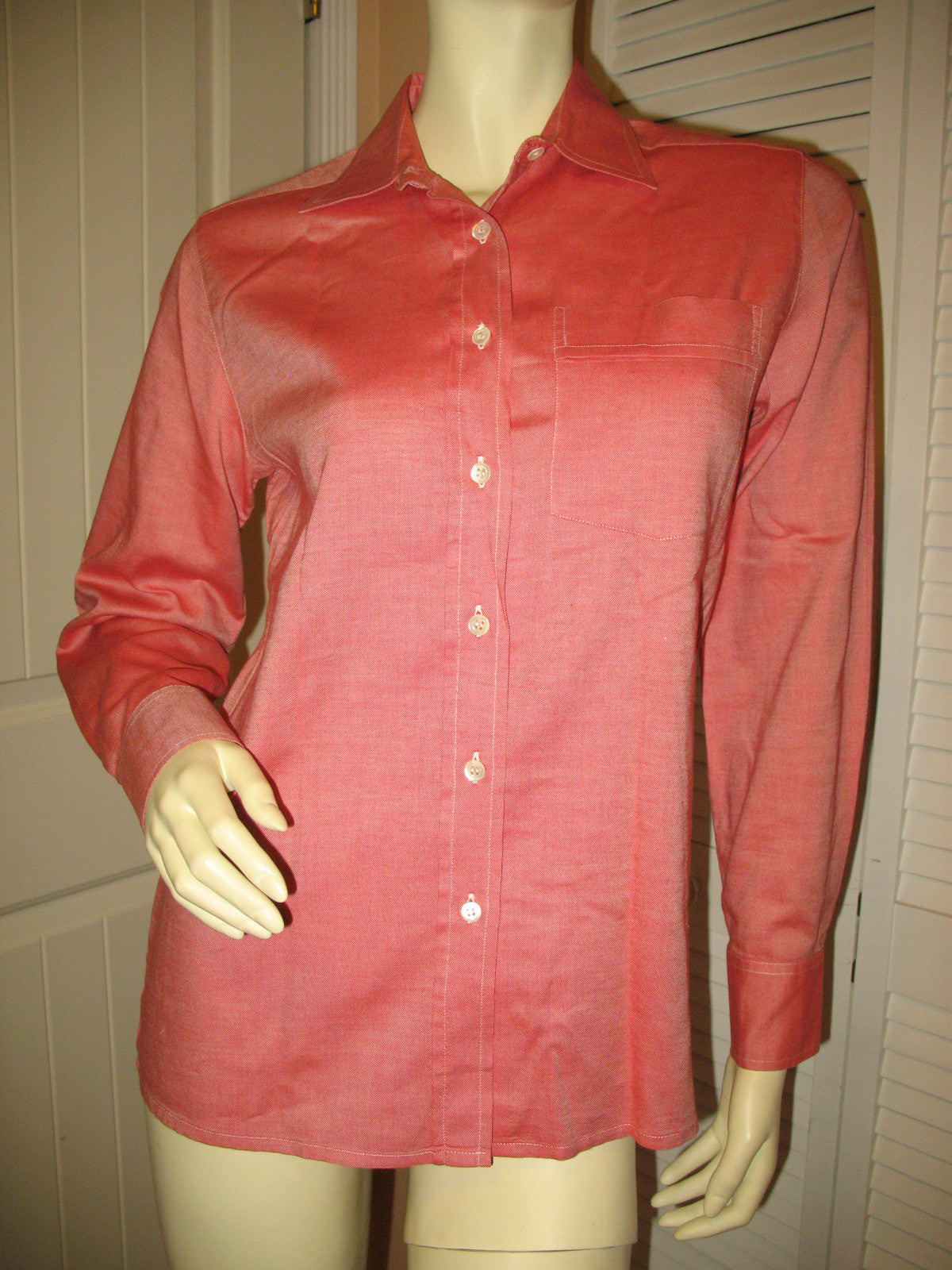 011c7f8a Walter Voulaz Made In Italy New Womens Long Sleeve Button Down Shirt Polo  Top Red Orange Medium Business Attire