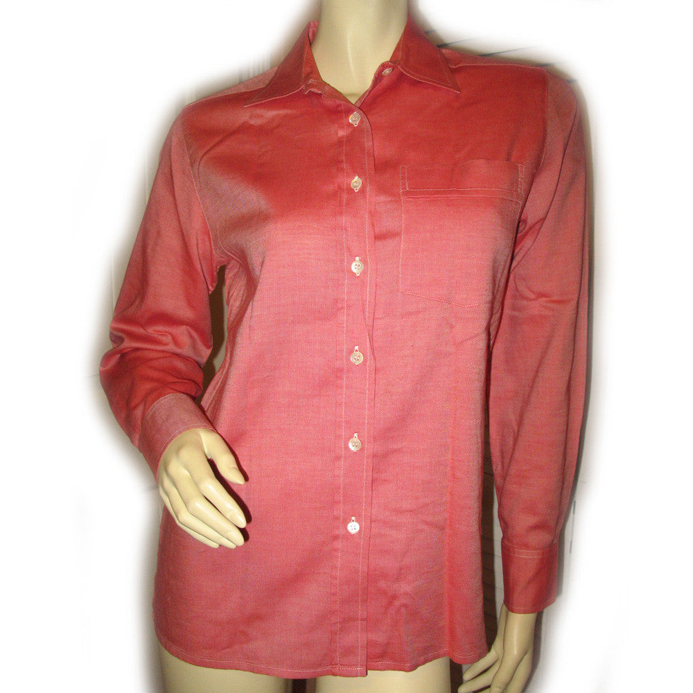 06941f85 NEW MADE In ITALY Womens Tops Shirts RED ORANGE White Long Sleeve Button  Down Pocket Pockets