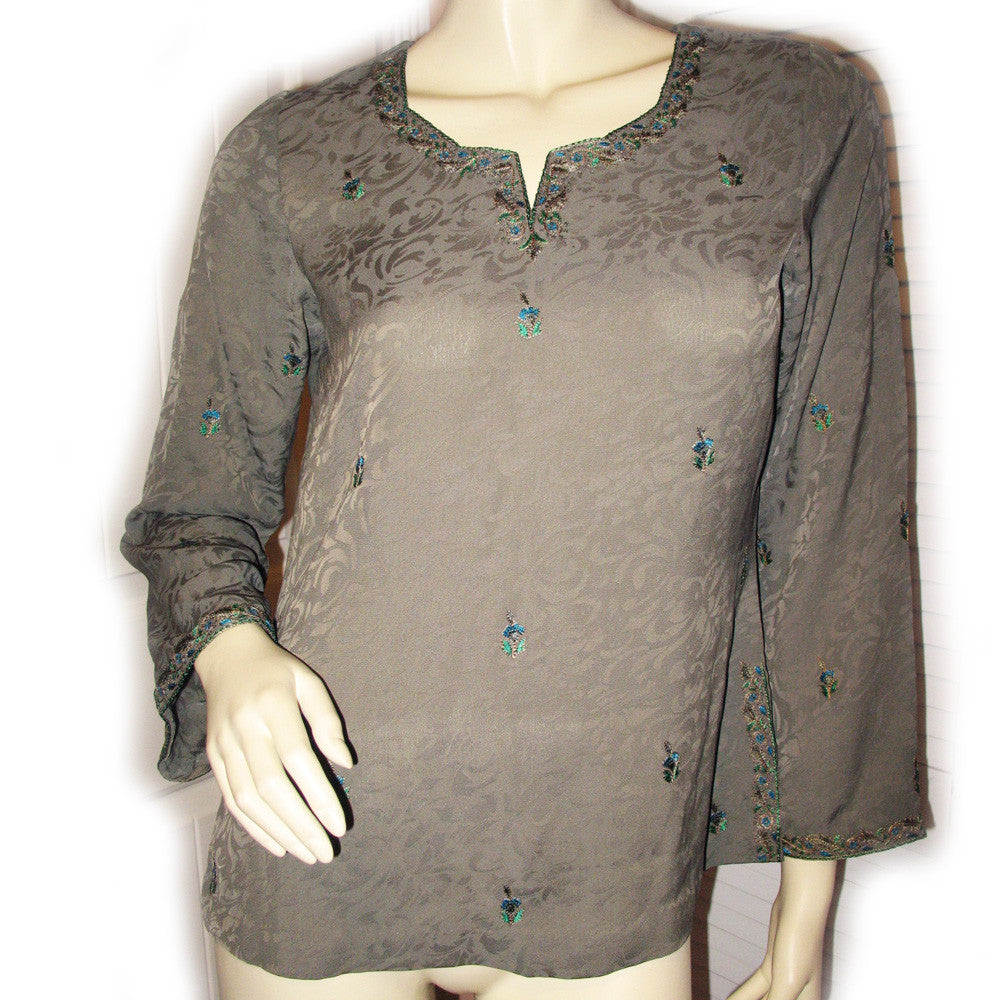 NEW Womens Tops OLIVE GREEN Gold Embroidery BELL LONG SLEEVE TOP Asian  Indian Style Clothes Clothing Medium