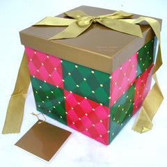 NEW AVON Christmas Holiday Holidays Birthday Birthdays SQUARE GIFT WRAP BOX GIFTS BOXES Folding Collapsible LID RIBBON NOTE CARD Easy To Assemble Ready Made Container Containers Giving Give Present Presents
