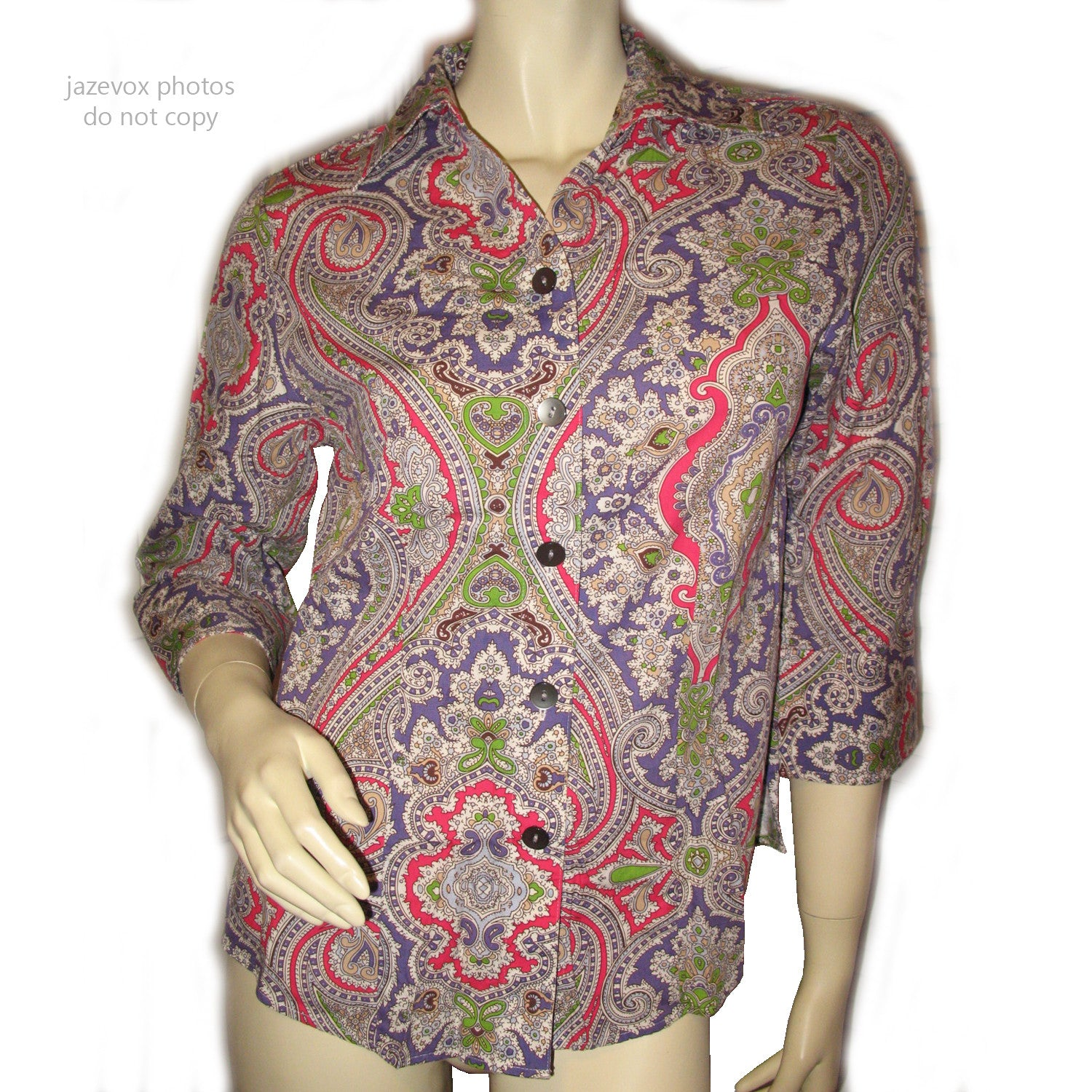 964d546fe3d5 Womens Tops Multi Color Colored PINK PURPLE WHITE GREEN Paisley Print 3/4  Sleeve Button Down Shirt TOP 6 Small